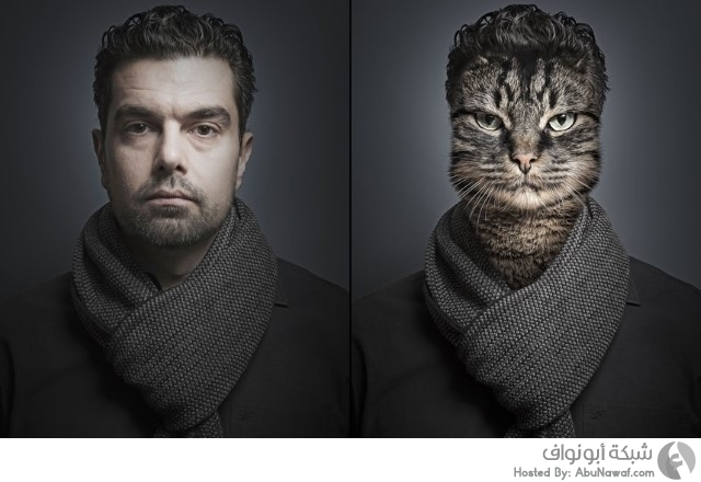 دمج شخصيات بشرية مع قططها