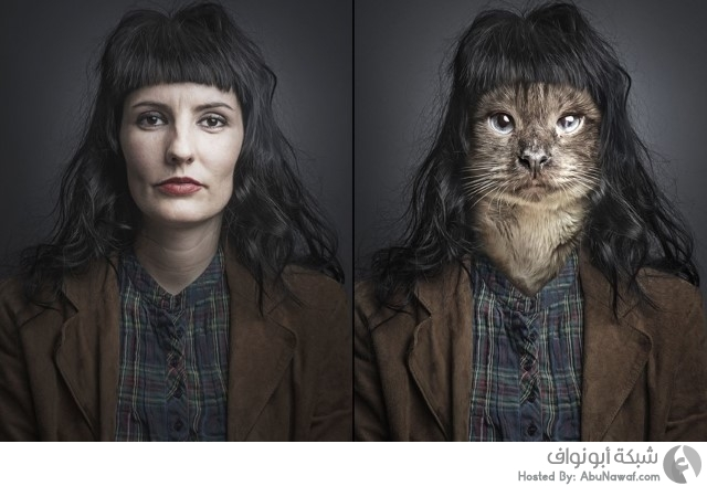 دمج شخصيات بشرية مع قططها 6