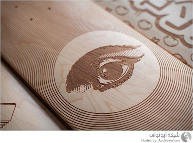 ألواح تزلج خشبية منقوشة بالليزر