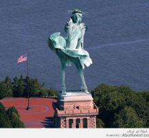 تمثال الحرية وقت الإعصار