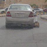 ولد يخرج حقيبته من السيارة