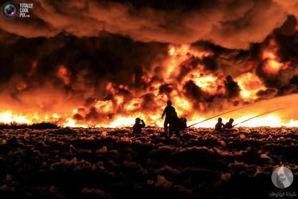 حريق في مصنع لإعادة التدوير