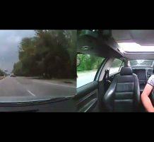 تصادم بين سيارة وشاحنة من جهة السائق