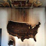 حرق خريطة أمريكا من عيدان الكبريت