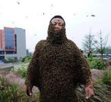 رجل يغطيه النحل