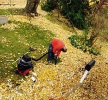 تنظيف الارض من اوراق الشجر بالمكنسة الكهربائية