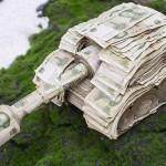 دبابة من الأوراق النقدية