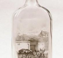 رسومات باستخدام الدخان والزجاجات الفارغة