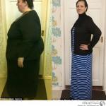 امرأة تخسر نصف وزنها