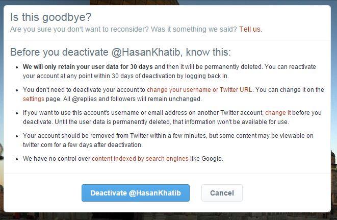 حذف حساب Twitter