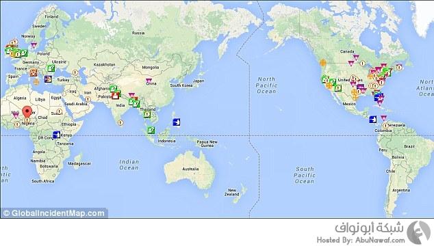 أوضاع العالم في خريطة - الارهاب