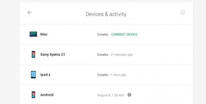 google dashboard أمان حساب جوجل المتصل بالأجهزة الأخرى