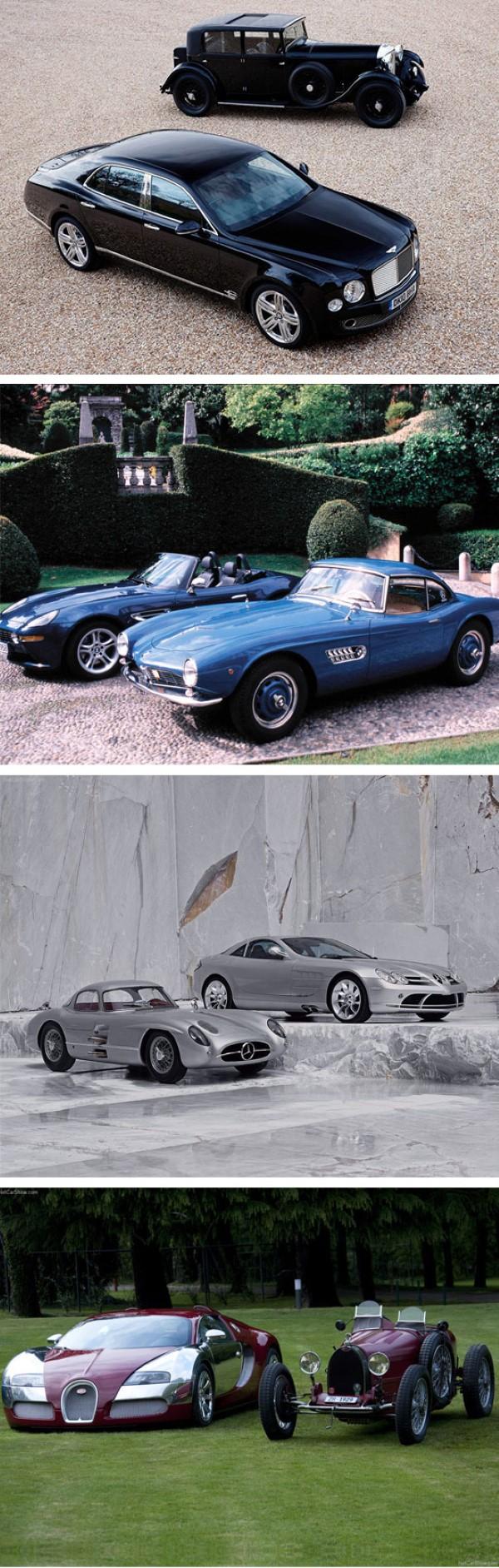 سيارات اليوم الفاخرة مع سيارات الأمس القديمة