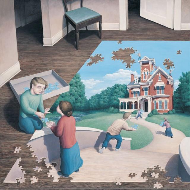 لوحات رسومية تمزج الواقع مع الخيال