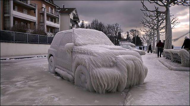 جمال الجليد الثلوج في الشتاء القارص