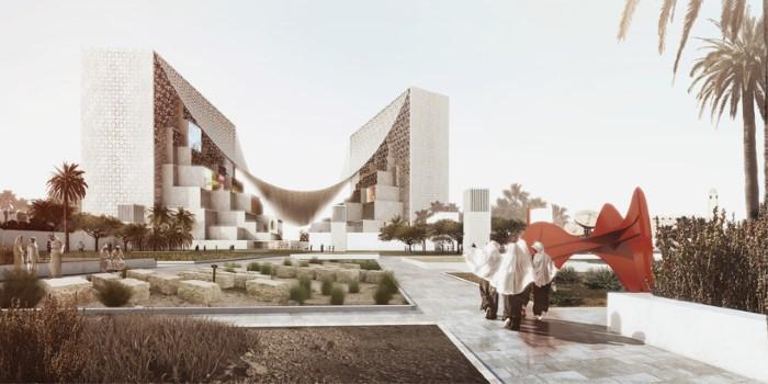 التصميم المستقبلي مقر وسائل الإعلام في قطر