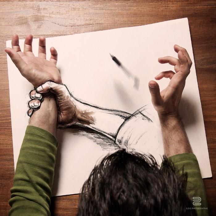تصميمات إبداعية فنية خيالية < استطاع هؤلاء المبدعين عرض أفكارهم وخلق عوالم سحرية من الوهم البصري الإبداعي. وهنا مجموعة من الأعمال التي مزجت الواقع مع الخيال بواسطة مبدعي الفوتوشوب في العالم.