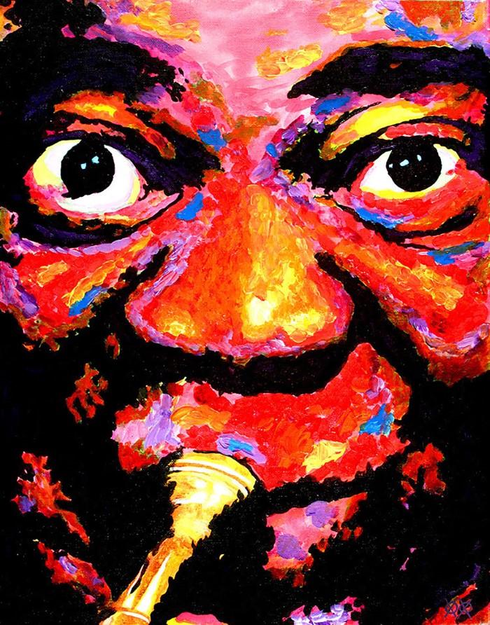فنان فاق للبصر يرسم لوحات ملونة
