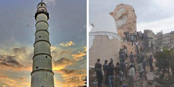صور انهيار برج تاريخي في نيبال