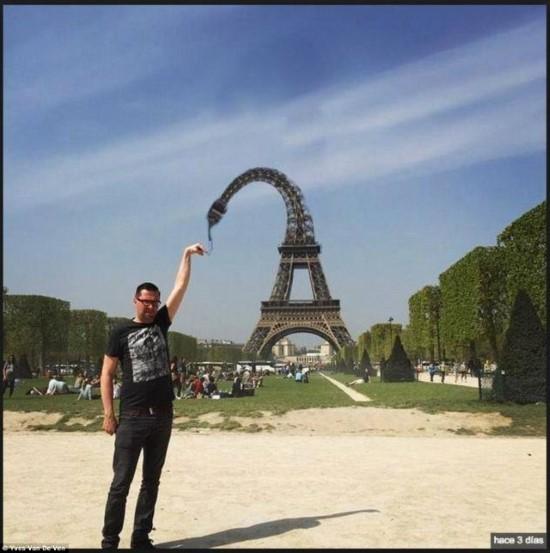 صور مضحكة لشاب طلب تعديل صورته بجانب برج إيفل
