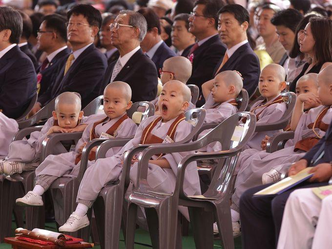 صبي صغير يتثاءب خلال الاحتفال بعيد بوذا الـ 2559 في معبد Chogye بسول