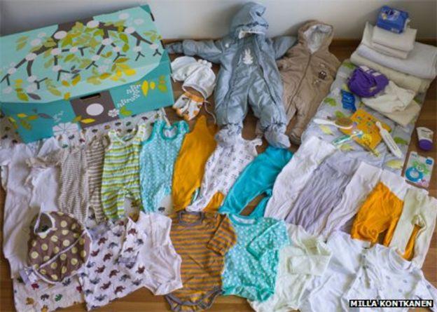 محتويات صندوق الأمومة في فنلندا