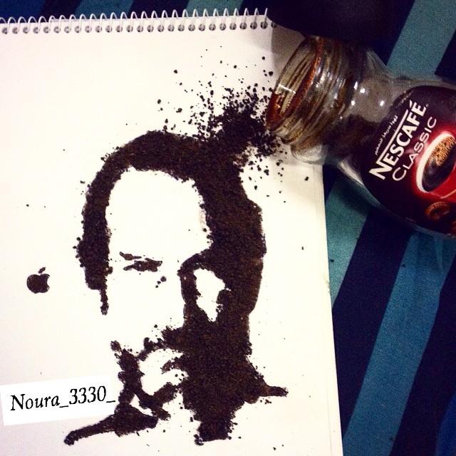 رسم ستيف جوبز بالقهوة