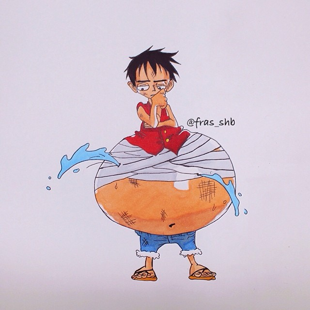 رسم شخصية لوفي في ون بيس