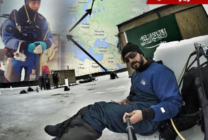حسام شكري والدكتورة مريم فردوس أول عربيين من السعودية يغوصان ب المحيط الشمالي
