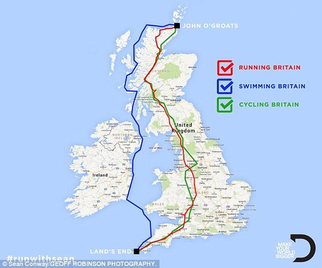 عداء يقطع بريطانيا بالكامل ركضاً وسباحة وعلى الدراجة