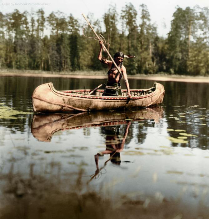 أحد الرجال من الهنود الحمر يصطاد بالرمح، مينيسوتا، (1908)