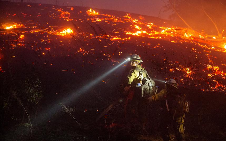 رجل إطفاء من وحدة الغابات يحاول إطفاء النار