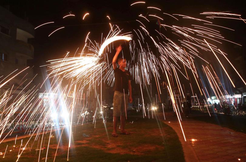 طفل فلسطيني يحتفل برمضان