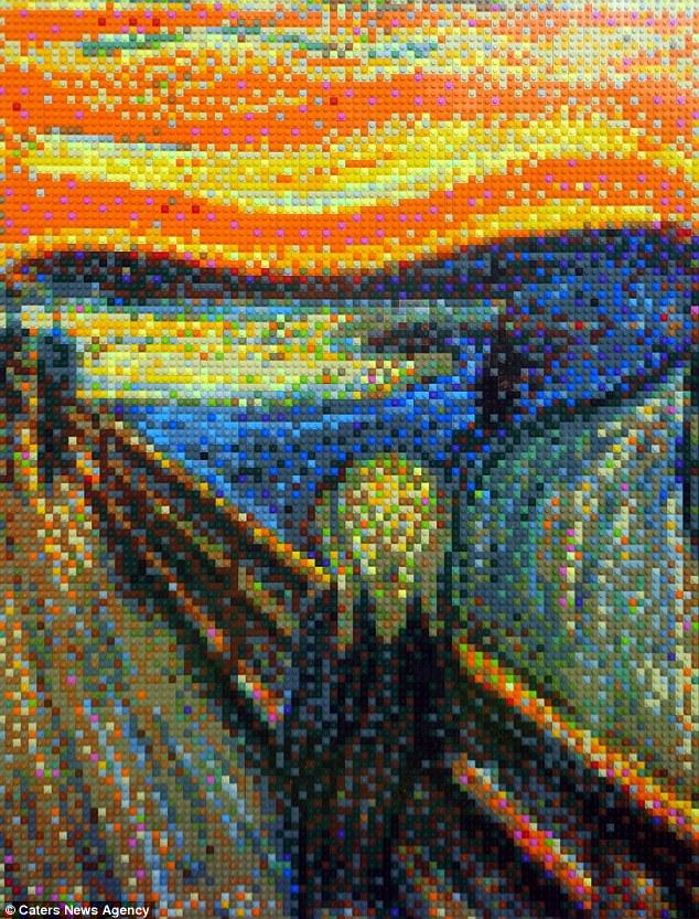 """قام الفنان """"بيتر لافين"""" من ولاية تكساس، الأمريكية، بإعادة بناء أكثر اللوحات شهر في التاريخ باستخدام الآلاف من قطع الليجو . وقد نجح في تكوين أبرز تفاصيل هذه اللوحات بأسلوب دقيق جداً، رغم أنها كانت تتواجد ب 24 لون فقط."""