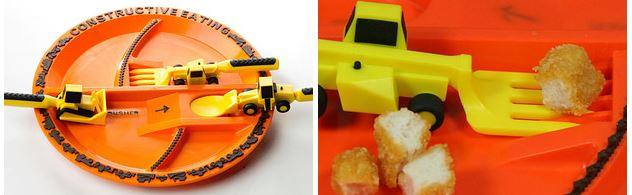 أدوات طعام على شكل أدوات بناء