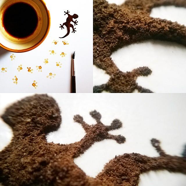 الرسم بالقهوة على أوراق شجر