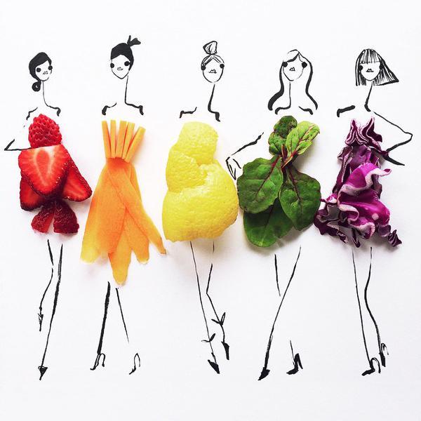 """الفنانة """"جريتشن"""" من سان فرانسيسكو تقوم بالاستعانة بالخضروات والفواكة لإكمال رسماتها"""