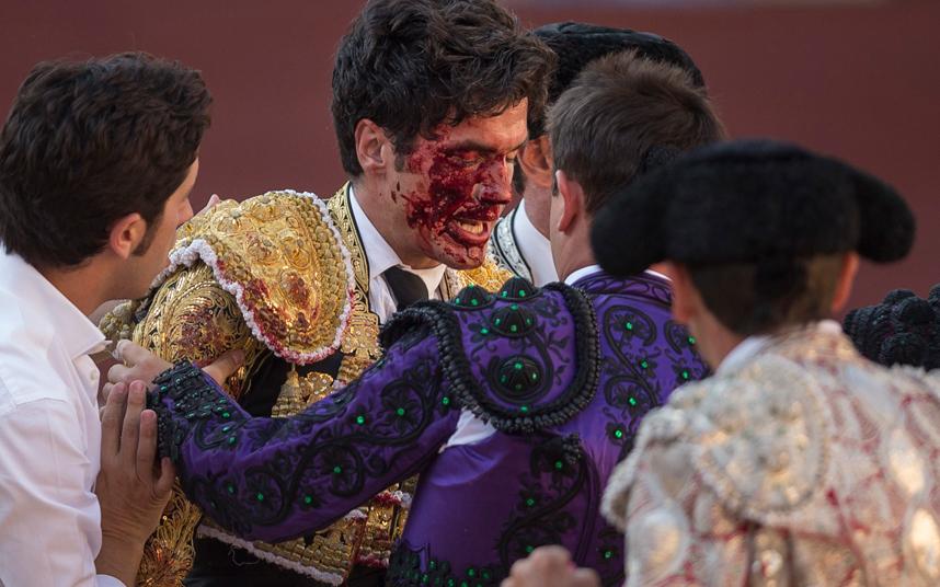 تعرض مصارع الثيران الإسباني لورينزو سانشيز إلى إصابة في وجهه بعد نطحة تلقاها من ثور