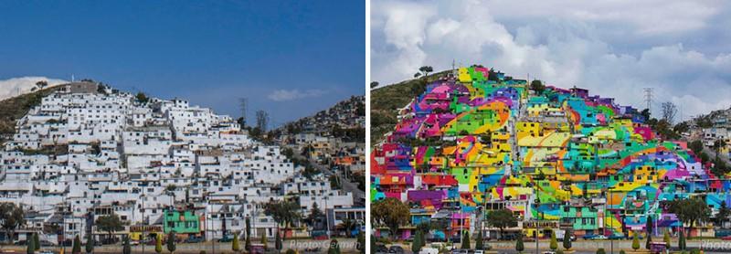 """عاون فنانو الشوارع في منظمة الشباب """"Germen Crew"""" المشهورة بالرسم على الجدران مع الحكومة المكسيكية لإعادة تأهيل بلدة في منطقة باتشوكا في المكسيك، من خلال طلاء"""