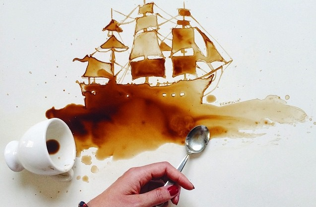 Artist Uses Coffee Stains, Chocolate Sauce To Make Creative Illustrations Read more: http://designtaxi.com/news/377280/Artist-Uses-Coffee-Stains-Chocolate-Sauce-To-Make-Creative-Illustrations/#ixzz3eloslMPd