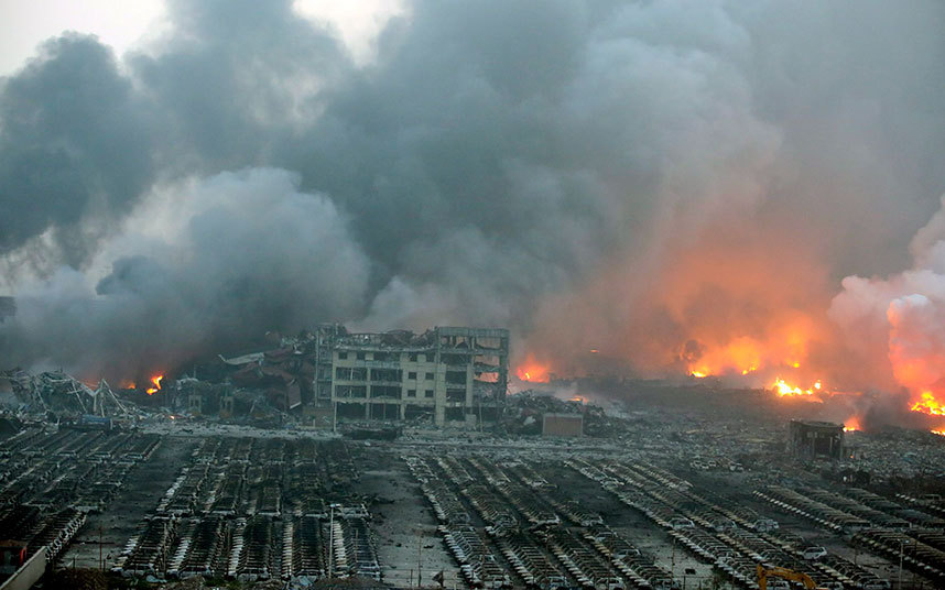 انفجار مستودعات بالصين