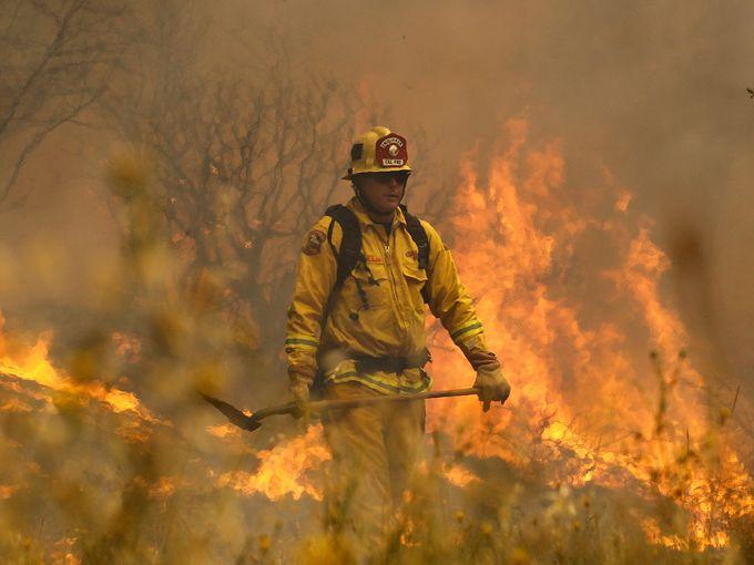 رجل إطفاء يراقب النيران المشتعلة في الغابات بالقرب من Lower Lake في كاليفورنيا