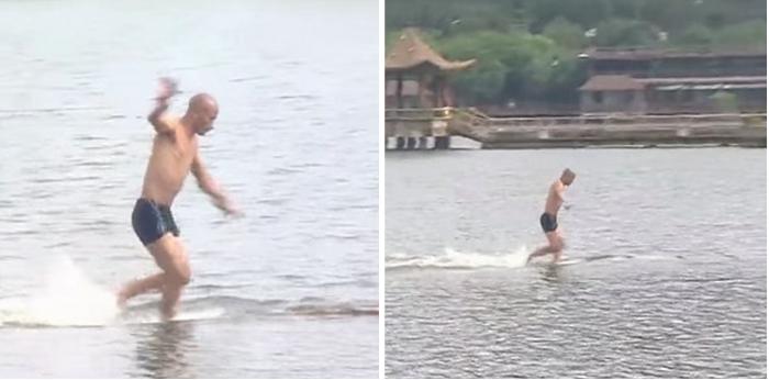 صيني يتعلم المشي على الماء