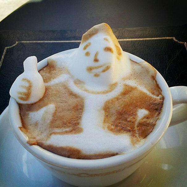 أعمال إبداعية بالقهوة