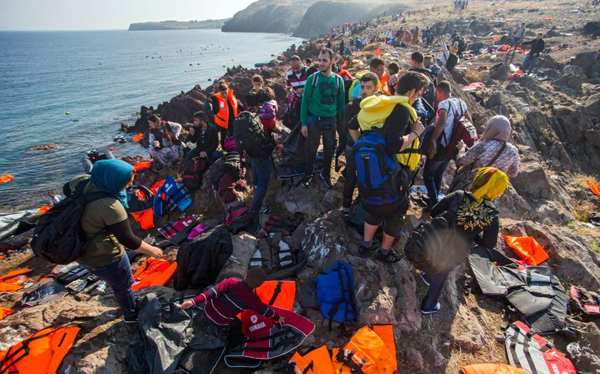 مهاجرين في ليسبوس