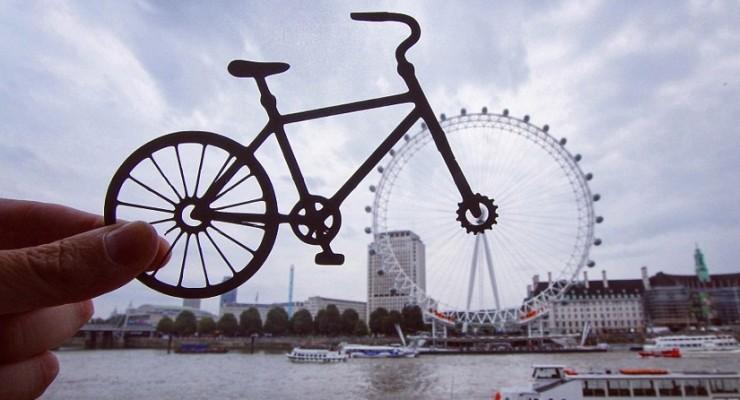 تشكيلي يتفاعل مع معالم لندن الشهيرة باستخدام قصاصات الورق
