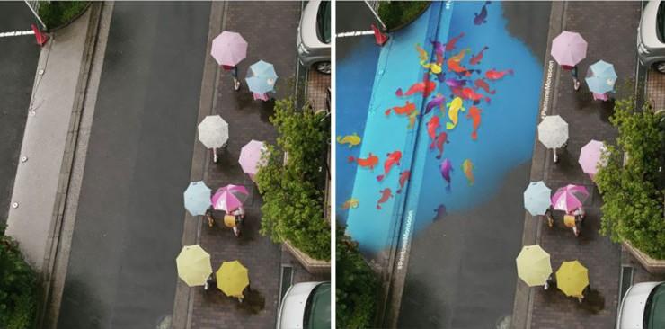 لوحات جميلة تظهر عند سقوط المطر في شوارع كوريا الجنوبية