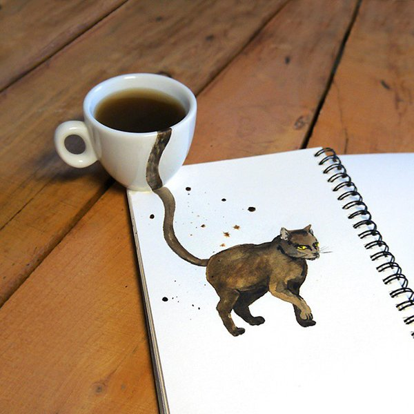 رسم قطط بالقهوة