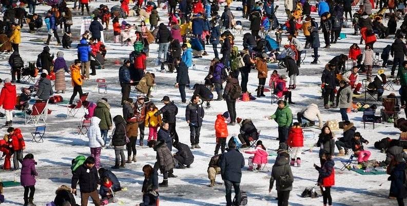 Ice fishing in South Korea