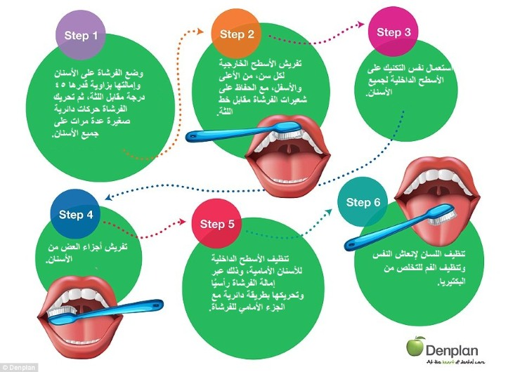 خطوات تنظيف الأسنان